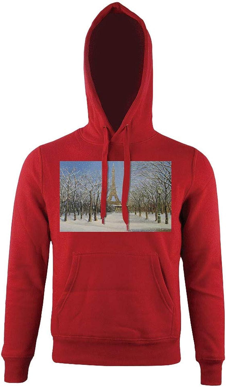 3b59227bdff2 Men's HoodedHistorical Eiffel Tower in Paris Snowy Snowy Snowy Day City,for  mens 09b561