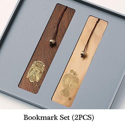 Lesezeichen 2 PCS chinesischen Stil Jahrgang Lesezeichen, Handbemalte Gemusterte Holz Lesezeichen, kreative Geschenke, ideale Geschenke for Freunde und Familie Buch Zubehör