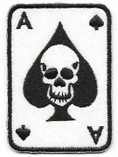 Mainly Metal, toppa termoadesiva e cucibile in feltro con ricamo asso di picche, a forma di carte da gioco
