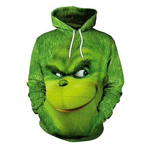 Felpe con Cappuccio da Uomo Felpa Stampa 3D Divertente Hoodie Cappuccio a Maniche Lunghe con Tasca con Coulisse Parodia dell'Arte Cosplay Costume M-XXL Autunno Invernale/green/M