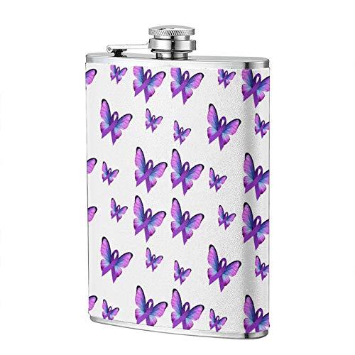 Lupus Awareness Butterfly con nastro fiaschetta per liquori per donne e uomini 226,8 g, portatile in acciaio inox a prova di perdite, idea regalo divertente