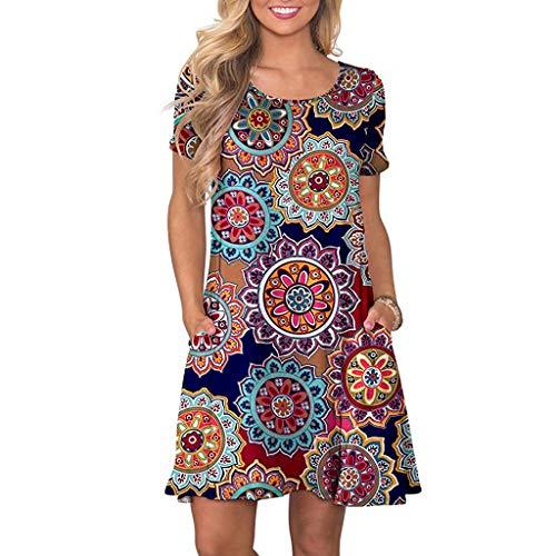 SHOBDW Vestido de Mujer Cóctel de Las Mujeres de Boho del Partido de Noche Largo del Vestido del Verano de la Playa Vestido V-Cuello de Tirantes (XL, Marrón)