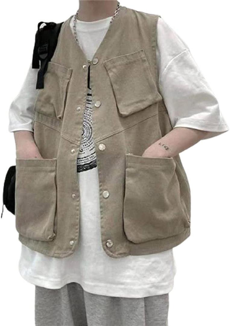 Korean Men Multi-Pocket Outdoors Vest Mens Hip Hop Loose Casual Sleeveless Jacket Vest