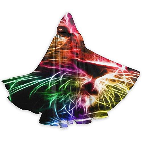 Zome Lag Fractal Leopard Cloak Unisex Halloween Tuniek Full Cape met capuchon voor Kerstmis Cosplay Party zwart
