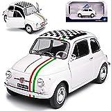 Solido Fiat 500 L Nuova - Modelo de coche con rayas italianas y bandera de destino 1957-1977 1/18, color blanco