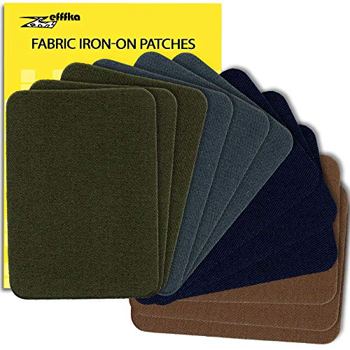 ZEFFFKA Premium Quality Fabric Iron On Patches Deep Blue Gray Brown Khaki Green 12 Pieces 100% Cotton Repair Kit 3' by 4-1/4'
