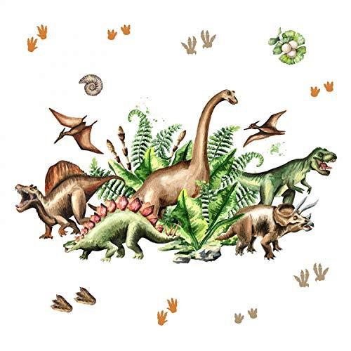 nikima Schönes für Kinder 168 Wandtattoo Dinosaurier - T-Rex, Triceratops, Stegosaurus. Größe 1000 x 560 mm