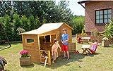 Spielhaus Kinderspielhaus Holz Gartenhaus Spielhütte aus Holz für Kinder - (3990)