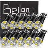 BeiLan 10PCS T10 LED Ampoules de Voiture,W5W 194 168 2825 Blanc Super Brillant 5-SMD 5050 Chipsets Ampoules De Rechange Pour Feux De Voiture Auto (Non-Canbus)