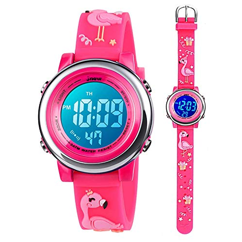 Relojes Digitales para niños pequeños niñas,Dibujos Animados Bonitos en 3D, Luces de 7 Colores, Reloj de Pulsera electrónico Deportivo Impermeable, Regalo para niños