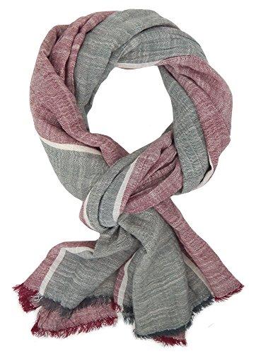 Ella Jonte Écharpes foulard d'homme élégant et tendance de la dernière collection by Casual-style gris rouge blanc coton