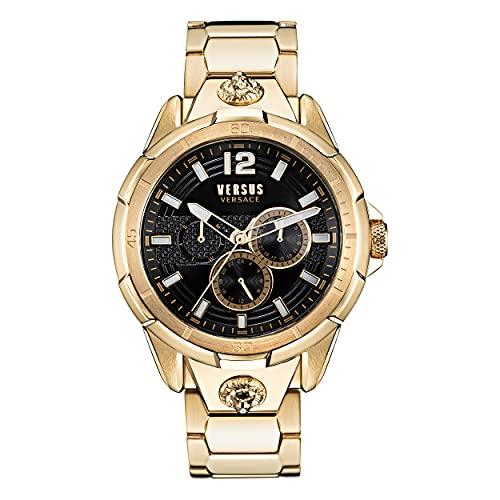 Versus Versace Runyon - Reloj de pulsera para hombre (correa de acero inoxidable, 44 mm), color dorado y negro