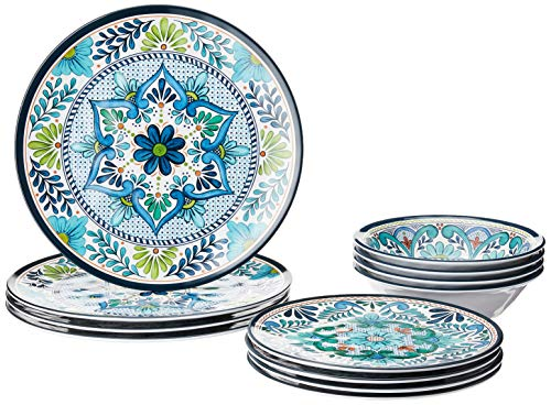 Certified International Talavera Melamine 12 pc Dinnerware Set, Service for 4, Multicolored