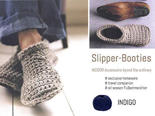 Slipper-Booties (Hausschuhe) aus 100% Alpaka | Größe 35/max.36 | INDIGO