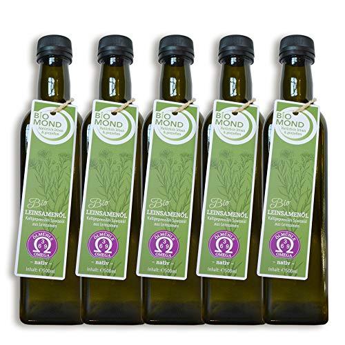 BIO Leinsamenöl Leinöl von BIOMOND / 500 ml / AKTION 3 plus 2 / 2 Flaschen Gratis / tagesfrisch kalt gepresst / nativ / Speiseöl / Rohkostqualität