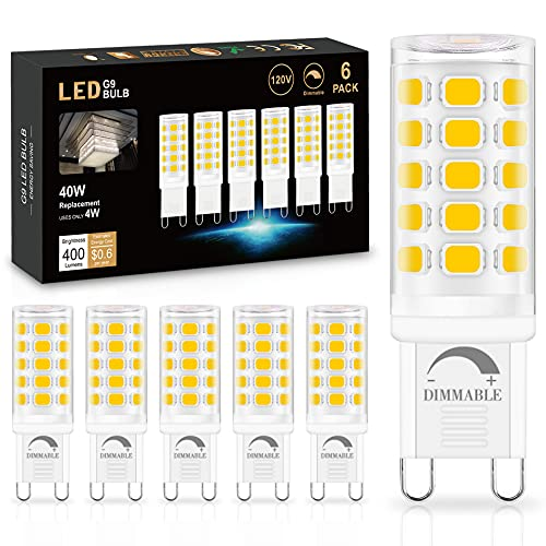 6 Pack Dimmable G9 LED Bulb 4000K Natural Daylight, Sailstar T4 G9 4W...