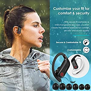 Wireless Earbuds, Bluetooth Headphones True Wireless in Ear Sports Earphones with Microphone, Mini Stereo Running Headset with Earhooks Charging Case for iPhone 11 Pro Max XS Samsung Android & More