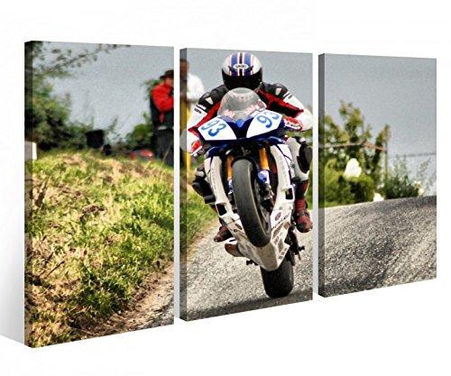 Leinwandbild 3 Tlg. Motorrad Sport Bike Racing Rennen Leinwand Bild Bilder Holz fertig gerahmt 9P921, 3 tlg BxH:90x60cm (3Stk 30x 60cm)