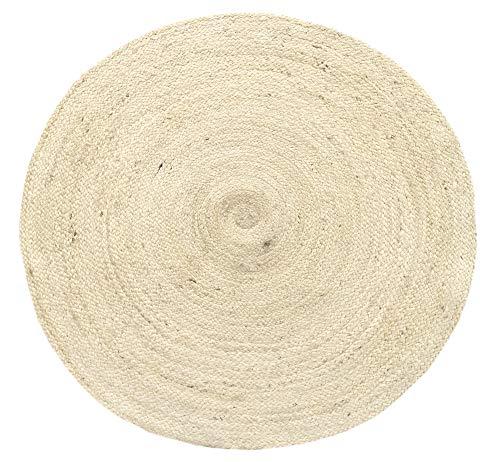 HAMID Alfombra Yute Alhambra Color Semi Blanco- Alfombra Redonda 100% Fibra de Yute (100x100cm)