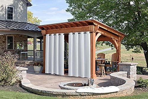 Outdoor vorhänge fürterrasse,Outdoor vorhänge wetterfest,SetSchlaufengardine,UV Schutz Outdoor,für Garten Hof Balkon,Weiß 1Stück B:200xH:240cm