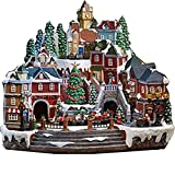 Christmas Village Animated with Lights, Music, and a Rotating Tree and Train