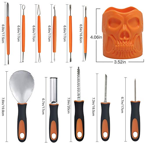 Pumpkin Carving Kit, Includes 11 Pcs Stainless Steel As a Carving Set for Pumpkin Halloween Decoration Kit Easily Sculpting Jack-O-Lanter Halloween Set - with a Skull Storage Carrying Bucket