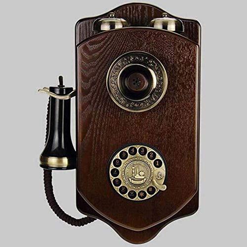 Teléfono Vintage/teléfono Retro montado en la Pared con Caja de Madera y Metal, botón Giratorio Funcional y teléfono con Timbre de Metal clásico para la Cocina en el hogar, la Oficina del Hotel co