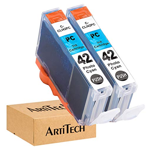 ArtiTech CLI-42 PC Pixma Pro-100 Compatible Ink Cartridges Replacement for Canon CLI42 CLI-42 Photo Cyan Ink Cartridge Work for Pixma Pro-100S Printers,2 Pack CLI-42 PC