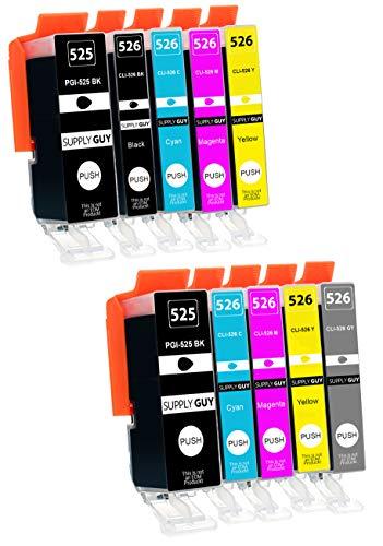10 Cartuchos de Tinta con viruta Compatible con Canon Pixma PGI-525 CLI-526 para Pixma MG6150 MG6200 MG6250 MG8150 MG8200 MG8240 MG8250
