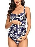 Ziola Maternity Swimsuits One Piece Twist Front Swimwear Vintage Pin up Pregnancy Bathing Suits Monokini