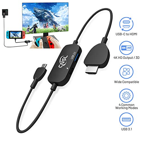AXD USB C to HDMI Cables Adapter Compatible with Nintendo Switch / 4K HDMI Adapter Hub Dock with USB 3.1 Port / Travel TV Docking Station / USB C Hub HDMI Adapter / Type-C PD Charging