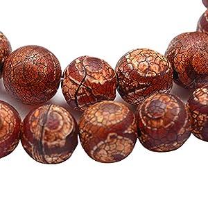 Tibet DZI Achat Buddha Perlen 8mm Natur Effloresce Edelstein Rund Tibetanischer Beads Halbedelstein Schmuckperlen Schmuckstein Perle Zum Fädeln für DIY Kette Basteln G789