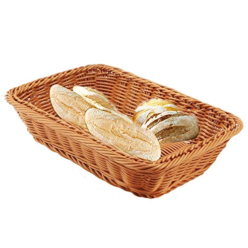 Wicker Bread Basket, Seagrass Storage Basket Rectangular Handmade, Rattan Storage Basket with Lid for House ware Storage Multipurpose Container (11.87.8/3.9 inches)
