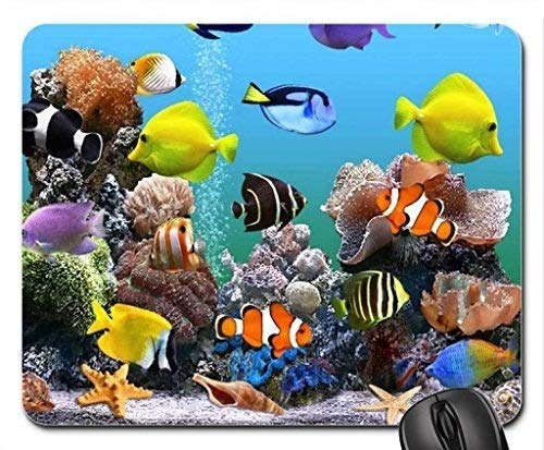 Mousepad Fish Themed Marine Aquarium Coral Reefs Rubber Gaming Mousepad Premium Customized With Stitched Edges 25X30M Non-Slip Mouse Pad Mouse Mat Oblong For Laptop Computer And Pc