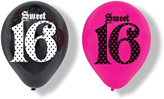 Creative Converting Super Stylish Sweet 16 6 Count Latex Balloons, 12-Inch
