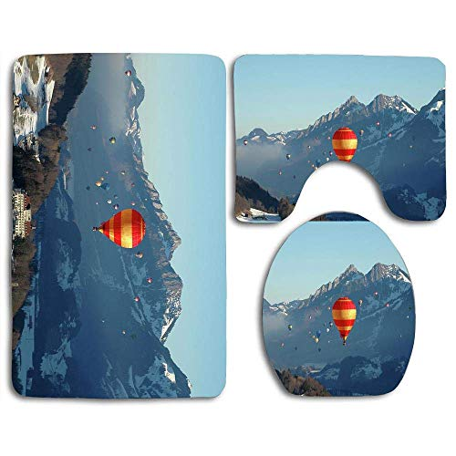 Ballons à air chaud doux antidérapants 3 pièces Alpes suisses Stevenallan tapis de bain ensemble tapis de salle de bain lavable + tapis de contour + housse de siège de toilette, tapis de sol pour pail