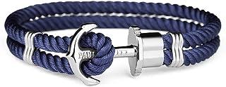 Paul Hewitt PHREP - Bracciale Donna e Uomo ad Ancora - Bracciali Unisex in Nylon (Blu Navy) con Ciondolo Ancora in Acciaio...