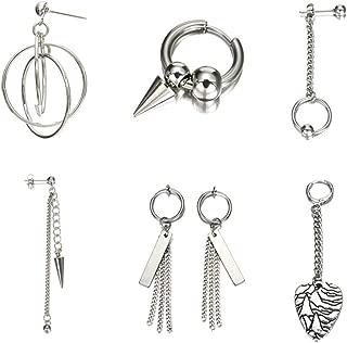7 Pcs/Set BTS Earrings Personality Hip Hop Fashion Ear Stud Clips Dangle Cone Pendant Long Chain Ring Silver Creative Charms Unisex Women Men Jewelry Decoration