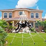 KAILEDI Halloween Decorations Spider Web, 16x15 Feet Triangular Mega Outdoor Graveyard Decor Spider Web - Indoor Outdoor Yard Haunted House Party Halloween Decor Supplies