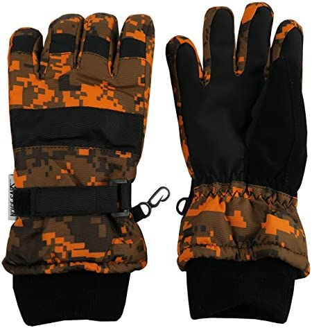 N Ice Caps Kids Cold Weather Waterproof Camo Print Thinsulate Ski Gloves Neon Orange Digital product image