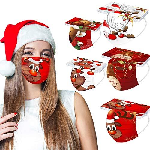 Herren Damen 50 Stück 3D Cartoon Druck Maske Weihnachts Print Atmungsaktive Baumwolle Mund-Nasenschutz Bandana Halstuch Maske Mund und nasenschutz