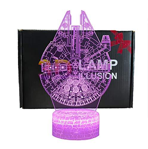 3D illusione Lampada Luce Notturna NHSUNRAY LED 7 colori cambia Lampada da Touch con telecomando,per la decorazione domestica della camera da letto Compleanno Natale regalo (Star Wars series)