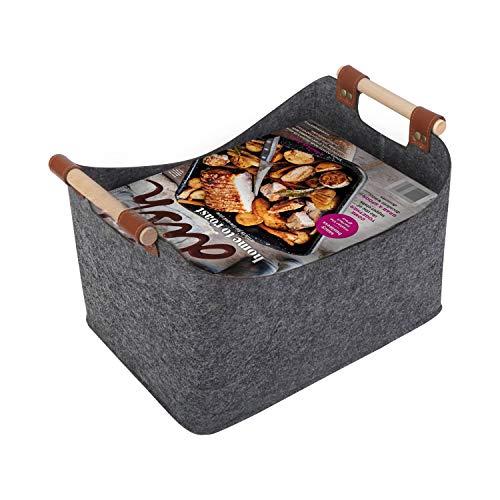 JSVER Faltbare Aufbewahrungskorb mit Griffen Fliz Aufbewahrungsbox Zusammenklappbare Große Wäschekorb Spielzeug Aufbewahrung für Kinder (32 x 23 x 20cm) für Magazin, Bücher und Kleidung-Grau
