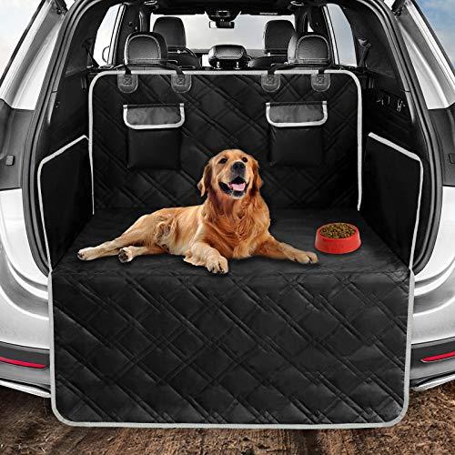 Protector de maletero de coche para perros, 4 capas, acolchado, impermeable, ajuste universal, con lateral y protector de parachoques, lavable, antideslizante