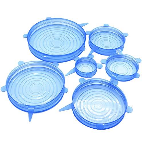 perfk Tapas de Silicona para Alimentos Tapas Reutilizables Flexibles Expandibles Cocina para Almacenamiento de Alimentos - Azul, Individual