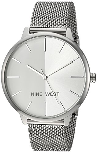 Nine West Women's NW/1981SVSB Silver-Tone Mesh Bracelet Watch