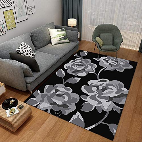 Waterproof Rug For Outdoors grey Carpet salon gray abstract flower pattern multi-size carpet anti-slip Children Rugs For Bedrooms 100X200CM Patio Rugs Waterproof 3ft 3.4''X6ft 6.7''
