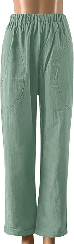 USYFAKGH Women's High Waist Linen Pants Wide Leg Trousers with Pocket Cotton Linen Loose Fit Elastic Waist Pant
