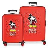 Disney Have a good day Mickey Juego de maletas Rojo 55/68 cms Rígida ABS Cierre combinación 104L 4 Ruedas dobles Equipaje de Mano