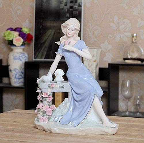 DDGD Sculpture Retro Porcelain Belle and Pigeons Figurine Ceramic Maiden Statuette Art and Craft Ornament for Home Decoration and Festival Gift